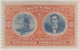 1910-162 CUBA REPUBLICA. 1910. 10c JUAN BRUNO ZAYAS. MLH. BICICLETA. CYCLE. SPECIAL DELIVERY. - Cuba