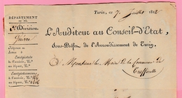 Dép4. Départements Conquis  Le Sous Préfet De L'Arrondissement De Turin 7.7.1812 (lettre Coupée) - Marcofilie (Brieven)