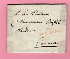 Dép4. Départements Conquis  PP Plaisance  24.2.(1807) PourParme.  (Lettre Avec Scotch) - Postmark Collection (Covers)