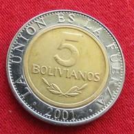 Bolivia 5 Bolivianos 2001 KM# 212  Bolivie - Bolivie
