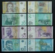 Serbia 10, 20, 50 E 100 Dinari FdS 2011 2013 2014 UNC Dinar Dinars Tesla - Serbie
