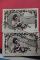 Cp Telegramme + Femme Dans Medaillon Lot 2 Cartes - Poste & Facteurs