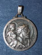 """Médaillon Pendentif Médaille Religieuse """"Saint Christophe"""" Début XXe Argent 800 - Silver Religious Medal - Religión & Esoterismo"""