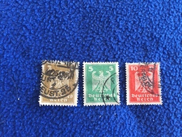 Stamp: Germany,1924, Imperial Eagle Series, Set Of 3, Canceled & Hinged - Germany