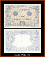 20 Fr Bleu 27 Avril 1906 - 1871-1952 Circulated During XXth