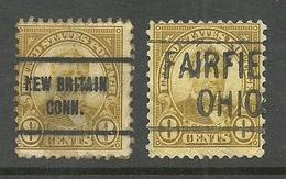 USA 1922/27 - 2 Pre-cancels - New Britain & Fairfield - On President Ulysses Grant Stamp 8 C. Mi 270 - Etats-Unis