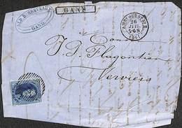 20 Cent Gand 1861 Sur Pli - Griffe Encadrée GAND - Belgique