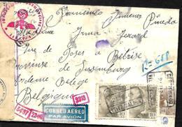 L. Rec. Avion Malaga > Bertix (Belgique) 1944  Censure Allemande  Absent   Taches - 1931-50 Lettres