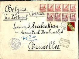 """L. Rec. Granada > Bruxelles 1937  Censure Espagnole (faible) + """"No Contiene Billetes"""" - 1931-50 Lettres"""