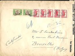 """L. Rec. Valladolid> Bruxelles 1936  Censure San Sebastian """"No Contiene Billetes"""" - 1931-50 Lettres"""