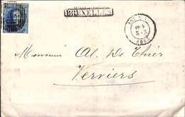 20 Cent Verviers 1863 Sur Pli - Griffe  Encadrée Bruxelles - Belgique