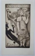 Ex-libris Illustré XXème - EUGENE STRENS Par Michel FINGESTEN - Femme Presque Nue Accompagnée De La Mort à La Pomme - Ex Libris
