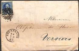 20 Cent Bruxelles Verviers 1863 Sur Pli  Agent De Change - Belgique