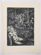 """Ex-libris Illustré Moderne Femme Nue """"Eva, Maria"""" - Italie - G.M. Van WEES - Par Fingesten - Coll. P.E. Levy - Ex-libris"""