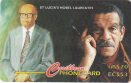 "ST. LUCIA ISL.(GPT) -  St. Lucian""s Nobel Laureates, CN : 147CSLB, Tirage 10000, Used - Santa Lucía"