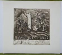 Ex-libris Illustré Moderne - Créatures Labourant - Italie - G.M. Van WEES - Par Fingesten - Coll. P.E. Levy - Ex-libris