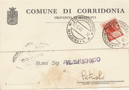 Corridonia. 1948. Annullo Guller Su Cartolina Comunale, Affrancata Con L. 4 Democratica. Araldica. - 1946-60: Marcofilia