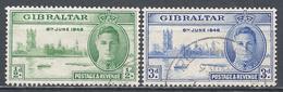Gibraltar 1946. Scott #119-120 (U) King George VI And Parliament Buildings, London ** Complet Set - Gibraltar