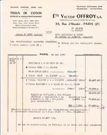 75-Ets V.Offroy... Tissus De Coton..Paris II ème.. 1955 - Textile & Vestimentaire