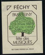Rare // Etiquette De Vin // Musique // Féchy , Fête Des Musiques Pampigny L'Echo Du Chêne - Musique