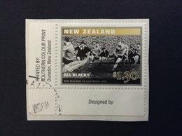 NEW ZEALAND 1985 RUGBY ALL BLACKS 1.30 $ FRANCOBOLLO USATO STAMP USED - Nuova Zelanda
