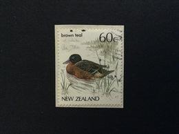 1987 NEW ZEALAND ANATRA BROWN TEAL 60 C FRANCOBOLLO USATO STAMP USED - Nuova Zelanda