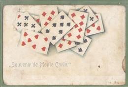CPA Fantaisie Dos Précurseur,  Très Rare - MONACO - SOUVENIR DE MONTÉ CARLO -  Cartes à Jouer - - Monte-Carlo