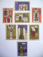 Czechoslovakia Series 8 Matchbox Label 1964 - Town Cheb - Monument Reservation, Old Architecture - Boites D'allumettes - Etiquettes
