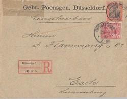 DR R-Brief Mif Minr.56,59 Düsseldorf Perfins GP Gel. Nach Luxemburg - Deutschland