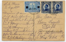 YUGOSLAVIA 1924 Picture Postcard (Maribor) With 25 Pa. X 2, And 1 D. Surcharge. - 1919-1929 Kingdom Of Serbs, Croats And Slovenes