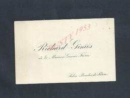CDV CARTE DE VISITE RICHARD GINIÈS DE LA MAISON GINIÈS FRÈRES À SALON BOUCHES DU RHÔNE : - Cartes De Visite