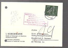 """1960 Minden L. Schemmann ROTSTEMPEL 'Sendungen Ohne Postfachnummer Laufen Gefahr……..…"""" (B7-3) - BRD"""