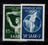Sarre - YV 301 & 302 N** JO Helsinki Cote 13 Euros - 1947-56 Occupation Alliée