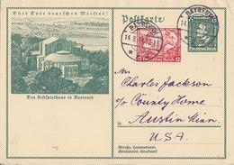 DR Ganzsache Minr.P249 Zfr. Minr.504 Bayreuth 14.8.34 Gel. In USA - Briefe U. Dokumente