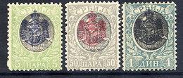 SERBIA 1904 Assassination Overprints (Belgrade Print) Set Of 3 LHM / *.  Michel 73-75 - Serbia