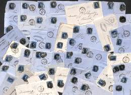 Lot Pour étude : 62 Plis Fragments Vingt Cent 20 Ct Non Dentelé ...... Voir Zie See Scans, Avec Annotations, Variété...) - Belgique
