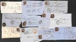 Lot Pour étude : 11 Plis Extraits Dix Cent 10 Ct Non Dentelé ...... Voir Zie See Scans, Avec Annotations, Variété...) - Belgique