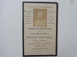 FAIRE PART DE DÉCÈS  JEAN RAOUL ALBERT  COYTEUX DUPORTAL DOCTEUR DECEDE LE 28 MAI 1896 A RUFFEC - Obituary Notices