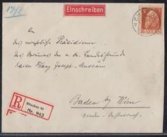 Bayern R-Brief EF Minr.81II München  Gel Nach Baden Bei Wien - Bayern