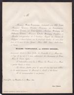 RHISNE Sidonie CROUSSE épouse TREMOUROUX 39 Ans 1864 Famille GOUTTIER De Braine-l'Alleud Faire-part Décès HOUTAIN - Obituary Notices