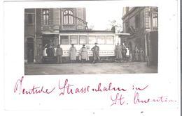 CARTE PHOTO AISNE 02 WW1 SAINT-QUENTIN  Le Tramway Pendant  L'occupation - Officiers Allemands Deutsche Strassenbahn - Saint Quentin