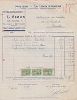 1937: Facture De ## Éts. L. SIMON, Rue Brogniez, 94, BXL. ## à ## Ets. VAN MECHELEN, Rue Drootbeeck, 165, BXL. ## - Imprenta & Papelería