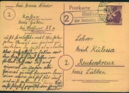 """1946, Posthilfsstellenstempel """"(2) Riesen über Fürstenberg (Oder) Auf 6 Pfg. Ganzsache Berlin - Sowjetische Zone (SBZ)"""