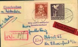 """1947: Einschreiben/Eilboten Mit Rückschein Mit Not-R-Stempel """"Schweinfurt 1b"""" - Zona AAS"""