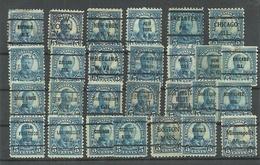 USA 1922/27 PRE-CANCEL Lot, 27 Exemplares, Michel 267, Th. Roosevelt, Different Perfs - Precancels
