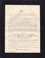 BOORT MEERBEECK LUBBEEK Arthur Chevalier POULLET De HOUTAIN 1877-1932 Faire-part Décès T'SERCLAES De WOMMERSOM - Obituary Notices