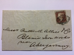 GB - Victoria 1849 Wrapper Liverpool To Abergavenny Tied With Apparently Plate 87 - 4 Margined - Cartas