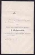 WILRYCK Eulalie CAMBIER épouse LE GRELLE Service Funèbre 1862 Avis A5 - Obituary Notices