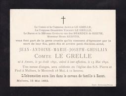 ANVERS RANST Jean-Antoine LE GRELLE 1891-1892 Carton Mortuaire A5 - Obituary Notices