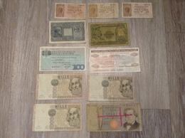 11 Banknoten Italien 1 Lira 10 Lire 50 Lire 100 Lire 1000 Lire Jahr 1977, 1944, 1982, 1969 - Italia